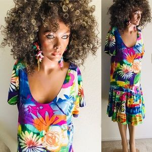 Vintage 90's JAM'S WORLD Tropical Floral DRESS XL